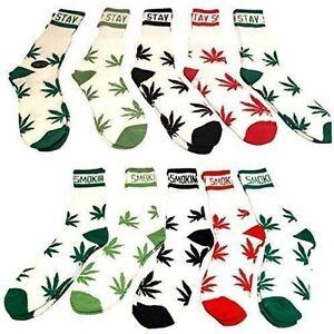 Mens weed socks, cotton rich cannabis, ladies leaf socks 5 pack marijuana