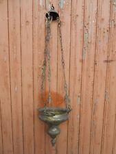 Ancienne lampe d'Église religieuse dorée décor anges   XIXe