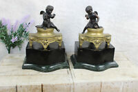 PAIR antique french bronze putti angels on marble base statue