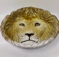 Vintage Lion Face Head Ceramic Dish Bowl Majolica style