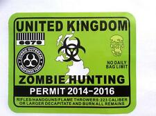 United Kingdom Zombie Hunting Permit Green Self Adhesive Vinyl Giant Sticker