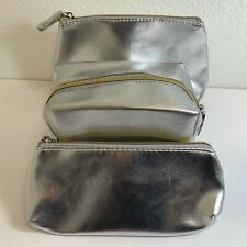 Macy's Silver Make up Cosmetic Bags Set of 3 Zippered Silver Bags - NWOT