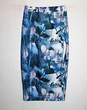 Silver Wishes Brand Blue Leaves Print Pencil Skirt  BNWT #SX48