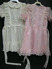 Vintage clothing lot vtg little girls sheer floral ruffle flocked polkadot dress