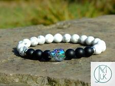 Men Howlite/Onyx Matt Skull Bracelet with Swarovski Crystal 7-8inch Elasticated