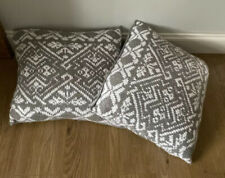 2 x Large GAP Knitted Snowflake Grey Winter Christmas Cushion with Feather Pad