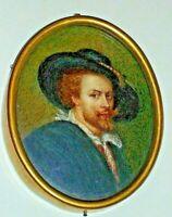 dipinto RUBENS ritratto - Antica miniatura ovale dipinta su avorio