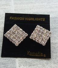 Sparkly Crystal Silver Earrings for Pierced ears