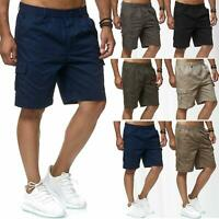 Mens Cargo Shorts Lightweight Combat Elasticated Waist Pants Combt Outdoor