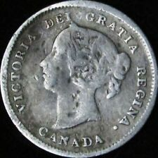 1889 VG Details Damaged Canada Silver 5 Cents - KM# 2