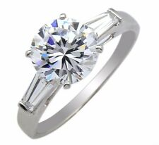 Women's Ultra Fire Simulated Diamond 3 Stone Engagement Ring 14k Solid Gold