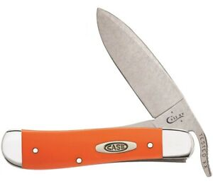 Case xx Russlock Knife Smooth Orange Delrin Handle Stainless Pocket Knives 80510