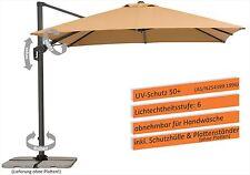 Schneider SET:Ampelschirm RHODOS TWIST 300x300cm 3x3m +Hülle+Ständer 730-16 sand
