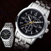 Luxury Men's Stainless Steel Watch Quartz Analog Military Wrist Watch Waterproof
