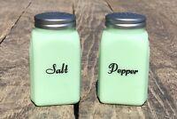 Set of Jadeite Art Deco Vintage Green Glass Cursive Salt & Pepper Shakers