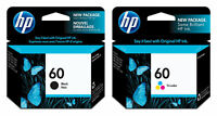 2-Pack NEW GENUINE HP #60 Combo Ink Cartridges 60 Black & Color CC640WN/CC643WN