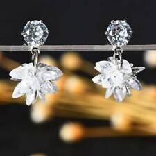 Fashion Snow Ice Flower Zircon Crystal Snowflake Stud Earrings for Women Gifts