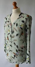 Ladies Zara Light Green Bird Print Blouse, Blouson Top Size S UK 8