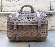 ANTIQUE WOVERN FISHING CREEL ~ BASKET with LEATHER STRAPS & METAL FASTENINGS