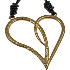 Burnished gold colour huge oversized quirky hammered heart pendant necklace
