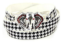 Houndstooth Wrap Around Leather Bracelet With Silver Toned Rhinestone Elephant