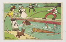 Artist-signed postcard TOM BROWNE Up the River