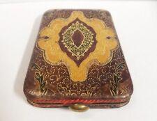 Antique Jewelry Box Wallet Vintage Case Red Yellow Gold Swirls Lock