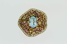 .925 Yellow Vermeil / Blue Topaz / White Topaz / Multicolor Tormaline Ring .