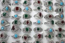Job Mixed Lot 28pcs Multicolor Resin Rhinestone Silver Plated Women noble Ring