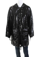 Pam & Gela Womens Faux Patent Leather Hooded Rain Coat Black One Size