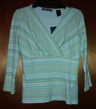 New Liz Claiborne Top Lime Blue White Stripe 3/4 Sleeves Gathered V-Neck Size PS