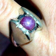 Mens Natural Star Ruby Ring Sz 11.5 Vtg 60s Sterling Silver 15g Handmade Band