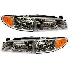 New Set of 2 LH & RH Side Headlight Lamp Clear Lens For Pontiac Grand Prix 97-03