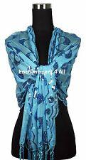 Handmade Lace Paisley Art Scarf Shawl Wrap w/ Sequin & Crochet Fringe, Baby Blue