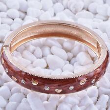 Statement Charm Gold Filled Brown Enamel bangle charms bracelet free shipping