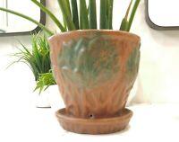 Vintage McCoy Pottery 1930s Stoneware Matte Glaze Flower PotwSaucer Lotus Leaf
