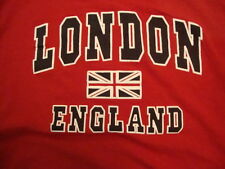 London England Flag Souvenir Red Cotton T Shirt Size XL/L