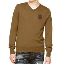Police 883 Mens S 2 Bronze Lola LS V-Neck Wool Jumper BNWT Sweater T-Shirt m