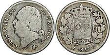 LOUIS XVIII 2 FRANCS 1822 Q PERPIGNIAN  F.257