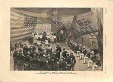 Messe Célébrée à Bord du Bayard Port-Saïd Egypte Amiral Courbet GRAVURE 1885