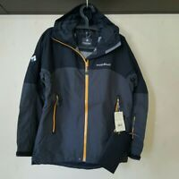 Montbell storm jacket men Hydro breeze warmth without bulk Black Yellow Zip : M