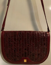 Vintage Genuine Crocodile TIZIANO FERRARI Shoulder Bag Crossbody Red Brand New