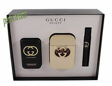 Gucci Guilty By Gucci 3 Pcs Set 2.5 oz. Edt Spray For Women New In Box