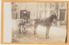 Real Photo Postcard RPPC - Horsedrawn Baker's Yeast Wagon