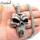 MENDEL Mens Punk Biker Superhero Punisher Skull Pendant Necklace Stainless Steel
