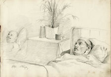 1941 TWO INJURED MEN IN HOSPITAL drawing by Russian artist S.Pichugin