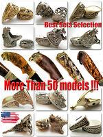-Coob- Set Finger Guard & Knife Pommel Bronze/Silver Bolster for Custom Knives