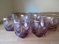 6 ELEGANT LAVENDER PINK GLASSES DOUBLE OLD FASHION JUICE 12 OZ DRAPE DESIGN