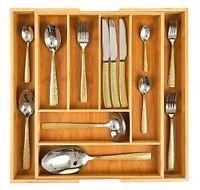 Organic Bamboo Extending Cutlery Drawer Tray   6-8 Compartment Naturally Durable