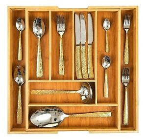 Organic Bamboo Extending Cutlery Drawer Tray | 6-8 Compartment Naturally Durable